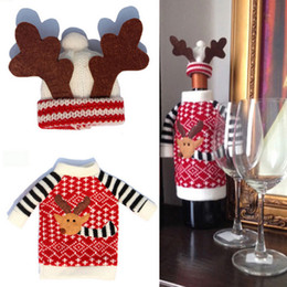Wholesale 1 Set Cute Sweater Red Wine Bottle Cover Bags Santa Claus Dinner Table Decoration Clothes With Hats Home Party Decors