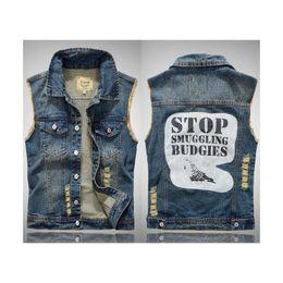 New men's sleeveless waistcoat jacket jeans vest fashion print holes motorcycle denim vest tops
