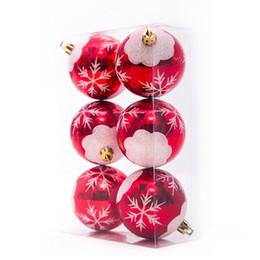 Acabado mate en Línea-6cm bolas de Navidad bolas acabadas Matt con copos de nieve bolas de PVC rojo para decoraciones de Navidad banquete de boda Código del producto: 95-1042
