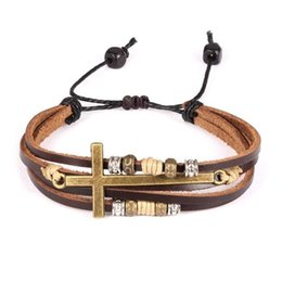 Retro Bracelet Multilayer Leather Wrap Bracelets Rome men's Cross Beaded Leather with Alloy Fashion Men Jewelry Wholesale Free Shipping