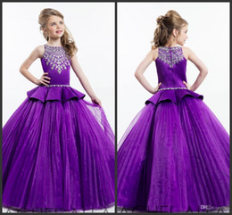 2016 Rachel Allan Purple Ball Gown Princess Girls Pageant Dresses Sparkling Beaded Crystals Flower Girls Dresses Size 12