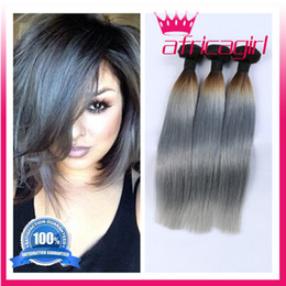 queen hair products Ombre hair extensions Two tone brazilian virgin hair straight ombre grey wefts weaves human hair 4 bundle deals freeship