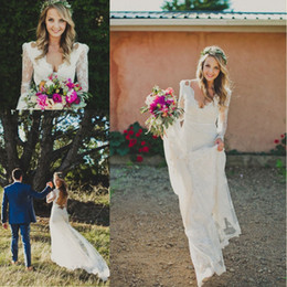 2016 Sexy Sheath Backless Boho Wedding Dresses Vintage Lace Long Sleeves Bohemian Wedding Gowns Custom Made