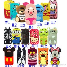 Wholesale 3D Cute Cartoon Animal Design Brown Teedy Bear Mickey Minnie Mouse monsters Soft Silicone Case for Iphone S S Plus