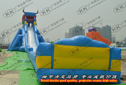 Wholesale 50m Length Blue Dragon Largest Inflatable Water Slide For Adult Water Park