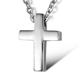 Croix d'argent à vendre-Corée nouvelle Lovers inoxydable ms bijoux croix collier pendentif exquise titane acier en croix collier en argent Pendentifs Pendentif Colliers