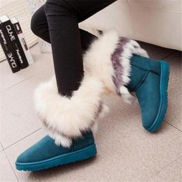 Wholesale 2016 new fashion winter snow boots large wool export imitation fox fur boots shoes women boots