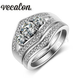 Vecalon 2016 Three-stone 3ct Simulated diamond Cz Wedding Band Ring Set for Women 10KT White Gold Filled Engagement Bridal Sets