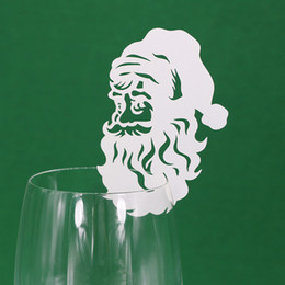 Wholesale Christmas Decorations Santa Claus Laser Cut Wine Glass Place Cards Table Mark beautiful Party Supplies