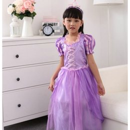 Faldas para las muchachas de los niños en Línea-Traje de falda de Praty del vestido púrpura de las muchachas para la etapa mágica de las niñas de la etapa de las muchachas Princesa Dress para la ropa de los niños