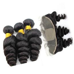 8A Silk Base Frontal Closure With Bundles Loose Wave Silk Base Lace Frontal Closure With Bundles No Tangle No Shedding