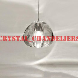 Wholesale Led Pendant Sphere Lights - 1 LIGHT CONTEMPORARY CLEAR   GOLD CRYSTAL GLASS SPHERE BALL CHANDELIER MIZU 1 HEAD PENDANT CEILING LAMP WITH ROUND STAINLESS STEEL BASE