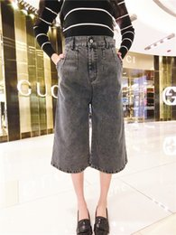 Wholesale 2016 summer Fashion Women s denim wide leg pants jeans Causal big straight retro water wash denim trousers