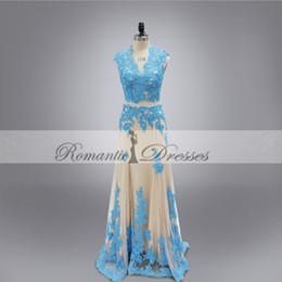 Real Photo Vestidos De Festa Blue Appliques Champagne Color V Neck Sleevesless Prom Dresses Cheap Party Evening Dresses