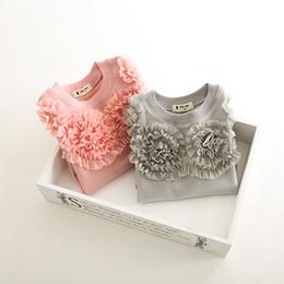 Wholesale Kid Girls Fashion Tops - Hug Me Girls Tops T-Shirt Christmas Kids Clothing 2016 Autumn Chiffon Flowers Tops Fashion Long Sleeve Girls Cotton T-Shirts ER-534