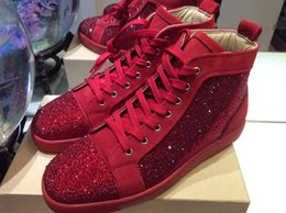 MFSn999W Size 35-47 Men Women Red Suede With Rhinestone High Top Lace Up New Fashion Red Bottom Sneakers, Unisex Designer Brand Casual Shoes