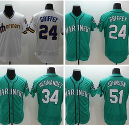 Wholesale 2016 New All Stitched Ken Griffey Jr Felix Hernandez Randy Johnson Embroidery Logos Baseball Jersey White Green