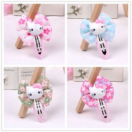Wholesale Baby Girls Hair Accessories Hello kitty Hair Clips Bowknot Candy Color Barrettes Holiday Gift For Children Headwears