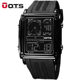 Wholesale New Fashion Top Brand Luxury OTS Sport Mens Watches Noctilucent Multifunctional LED Digital leisure Watch Relogio
