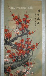 Chinese 100% Hand painting scroll- The red plum blossom herald spring figure