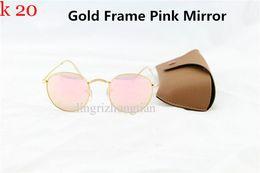 Best Quality Round Metal Sunglasses Designer mirror Glasses Eyewear Gold Green Flash 50mm Glass Lenses For Mens Womens