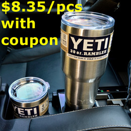 Wholesale Vehicle Stainless Steel oz Yeti Cup YETI Rambler Tumbler Cup Beer Mug Double Wall kitchen grade Price under with coupon