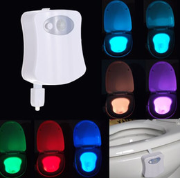 Wholesale 8 colors Bathroom Human Body Auto Motion Activated Sensor Seat Light Night Lamp Changes with battery included L1420