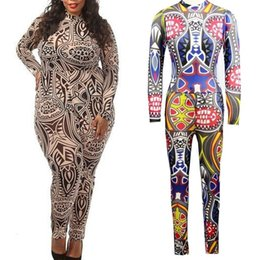 Wholesale Plus Size Rompers Womens Women Tribal Tattoo Printing Mesh Long Sleeve Sexy Bodysuit Celebrity Catsuit Playsuit Bodycon Jumpsuit