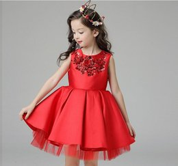 High quality Red Tulle Girl Wedding Dress Sequin Children Party Dress Ball Gown Princess Flower Girl Dress Birthday Clothes