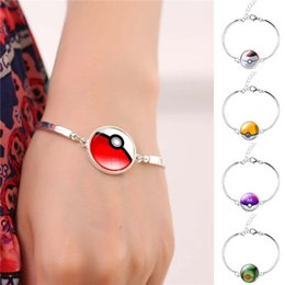 Pokeball Glass Cabochon Silver Bangles Bracelets Jewellry Pocket Monster Game Poke Halder Vintage Retro Time Gemstone Accessories Jewelry