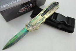 6 models microtech scarab gold scarab Abalone shell double action Hunting Pocket Knife Survival Knife Xmas gift for men 1pcs freeshipping