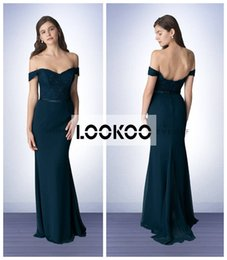 Wholesale Sirena Larga Nueva llegada Bill Levkoff vestidos de dama de honor con el hombro de la vendimia de encaje Top falda de gasa Backless Maid de vestidos de honor