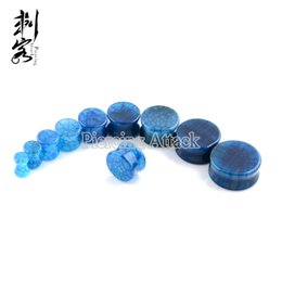 Blue Gragon Vein Natural Stone Ear Plug Ear Piercing Jewelry
