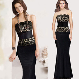 Strapless Lace Dress Black Strapless Lace Slit Empire Line Formal Maxi Evening Long Dress Strapless Lace Strapless Prom Dress