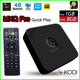 Wholesale MXQ PRO Newest Upgrade Version Quick Play Amlogic S905 Android5 Quad Core K Movie Bluetooth4 G G Multi Language TV BOX
