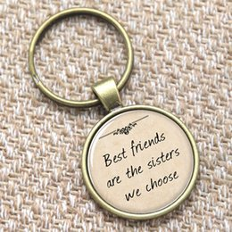 Wholesale 12pcs Gift for Girlfriend keyring Best friends are the sisters we choose keyring glass Photo Quote Jewelry keyring
