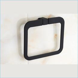 Wholesale Bathroom black square towel ring wall mount decorative towel ring bath hand towel ring J15518