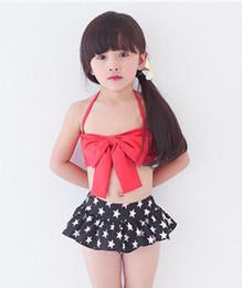 Wholesale 2016 New children bikini swimsuits girls red bows star falbala skirt split swimwear bikini kids spa beach swimwear