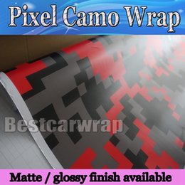 Red Piexl Camo Vinyl Car Wrap Film With Air Rlease Digital Camouflage Truck wraps covers camo red styling size 1.52x30m Roll