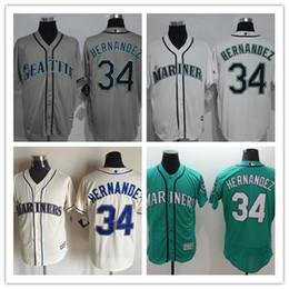 2016 Men 34 Felix Hernandez Jersey Green White Cream Grey Seattle Mariners Baseball Jersey Embroidery Logo