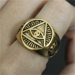 2pcs lot Newest Design Golden Eye Cool Ring 316L Stainless Steel Biker Style Mens Hot Selling Punk Style Ring