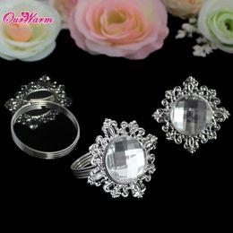Wholesale White Diamond Napkin Rings Serviette Holder for Wedding Decoration Party Banquet Table Decoration Kitchen Dining Bar