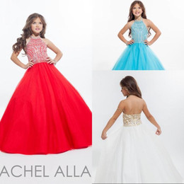 Most Popular Ball Gown Halter Floor Length Tulle Crystal Pageant Little Girls Dresses Beaded Flower Girls Party Communicate Dresses