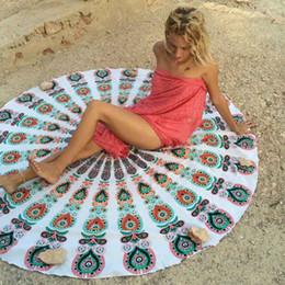 Round Beach Towel Fire Peacock Mandala 150cm Chiffon Beach Swim Towels Bohemia Style Bikini Cover