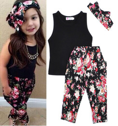 Wholesale Lowest Price Fashion Girls Broken beautiful Sets Black Sleeveless Vest Broken Beautiful Pants Hair Band Lovely Girl Suit