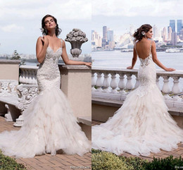2016 New Fashion White Ivory Full Lace Wedding Dresses Spaghetti Sweetheart Mermaid Wedding Dresses Lace Appliqued Beaded Beach Bridal Gowns