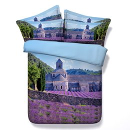 Wholesale 3d Lavender fields and Abbey of Senanque in France HD Digital bed set with VERY good hand feeling and comfortable and soft