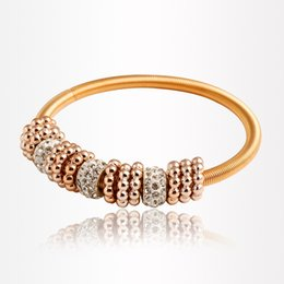All-match Shambhala Bracelet Korean Fashion Women Big Hole Beads Charms Bracelets Vintage Gold Plated Elastic Stretch Bracelets Jewelry