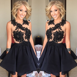 Little Black Dresses Bling Homecoming Ball Gown Puffy Chiffon Skirts Applique Lace Mini Short Prom Cocktail Dress 2017 Graduation Gown BA359