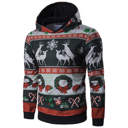 2018 New Ugly Christmas Sweatershirt Brand Deer Pattern Knitting Mens Hooded Sweatershirt Slim Pullover O-neck Homme Winter Mens Clothing